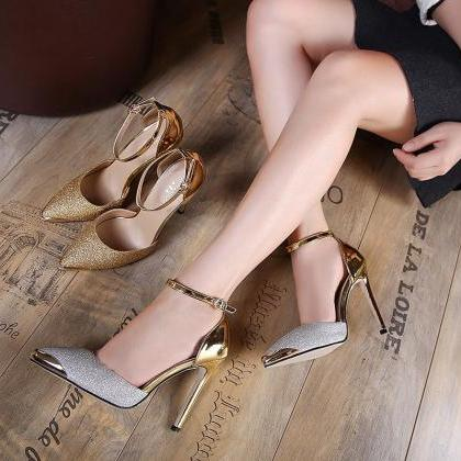 Pointed Toe Shimmery High Heel Pump..
