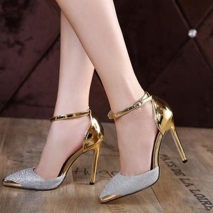 Metallic Pointed Toe Glittery High ..
