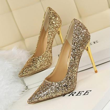 Pointed Toe Shimmery Stiletto Pumps..