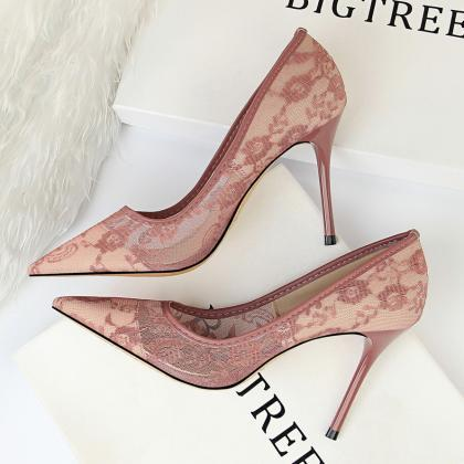 Women Elegant Heels Mesh Hollow-Out..