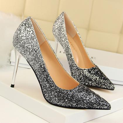 Women Shiny Sequin Heels Point-Toe ..