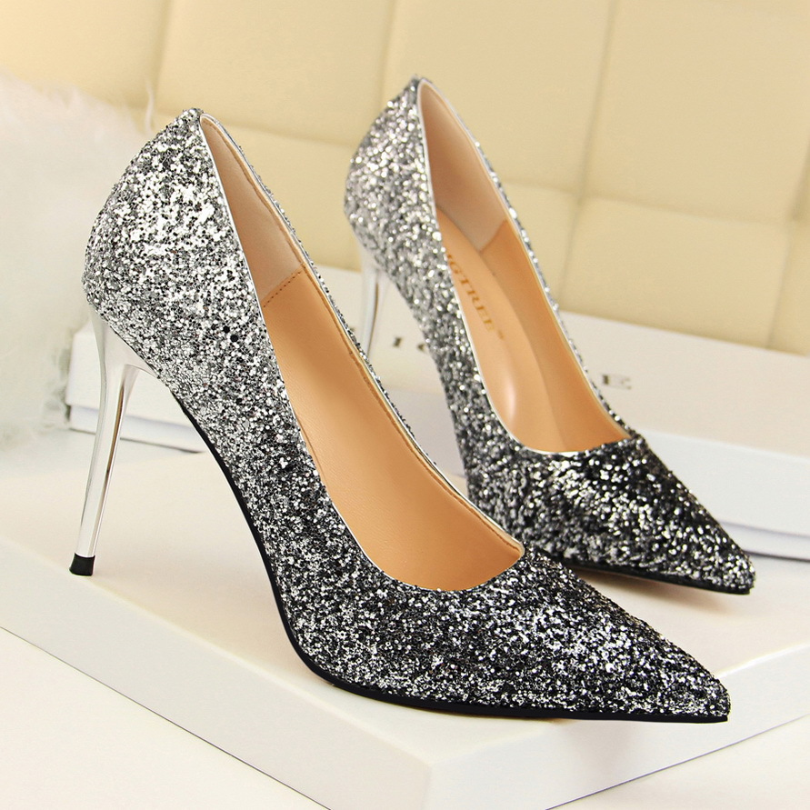 Women Shiny Sequin Heels Point-Toe Sexy Gradient Heels Pumps