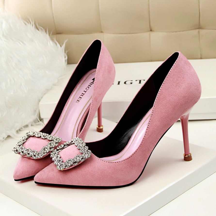 Rhinestone Shoes Women New Arrival Wedding Shoes Bride Pink Heels Luxury Heels Shoes Sexy High Heels