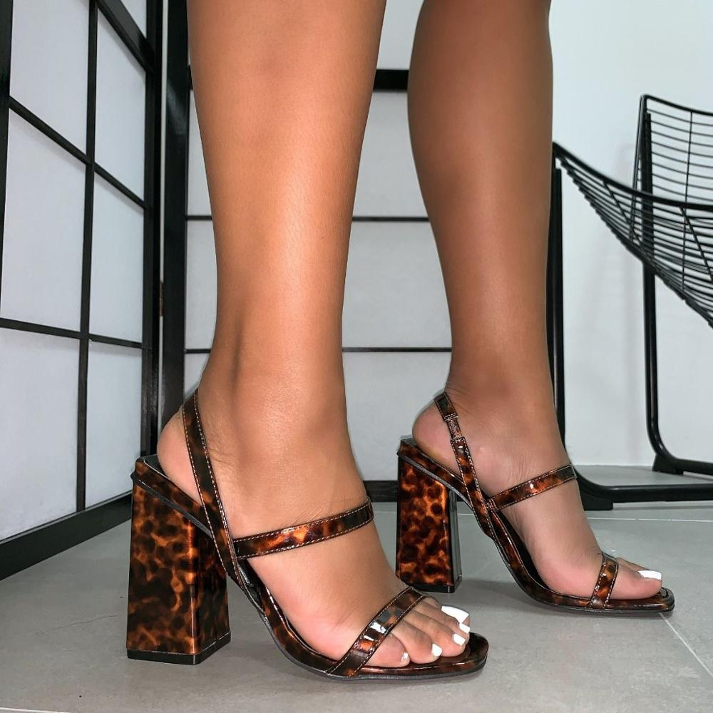 Spring Summer woman shoes sandals big size 35-42 Leopard Block high heels open toed Female shoes party dress ladies sandal