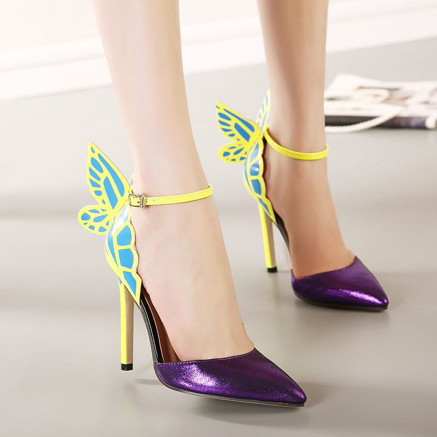 17b3e48a6545f JOJO cat 100% high quality 2015 Spring European Women personality wedding high  heels woman Colorful butterfly pointed toe sandals Valentine s bow party ...