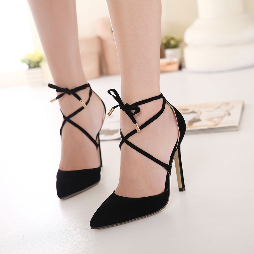433163ff895d1 ... 2015 Summer pointed toe in European woman ankle-strap Flock leather  Slingbacks wedding sandals shoes woman sexy bandage black evening high  heels ladies ...