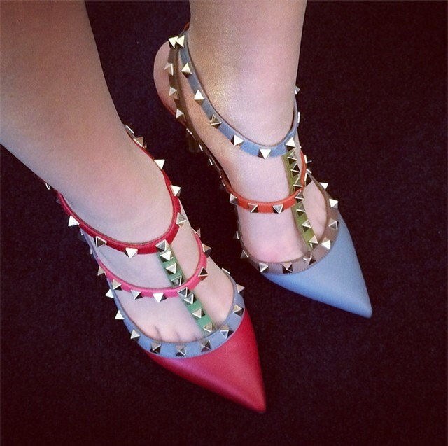 Pyramid Studded Multi Coloured T-Strap Pointed Toe Pumps
