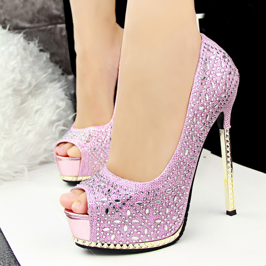 Peep Toe Metallic Stiletto Pumps Adorned With Rhinestone And ...