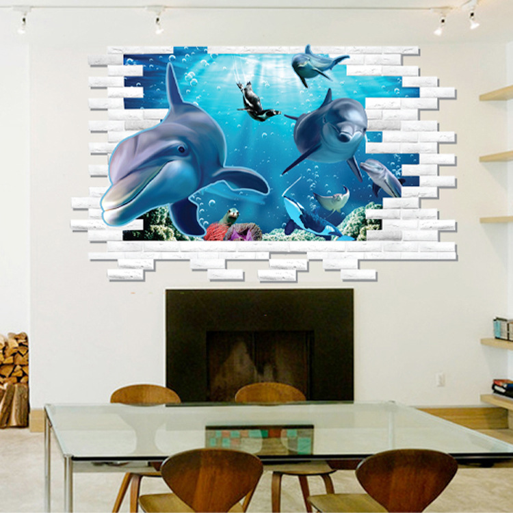 Superb AM9108 Drop Shipping 2015 New Creative Removable 3D Effect Plane Dolphin  Animal Submarine World Decorative Wall