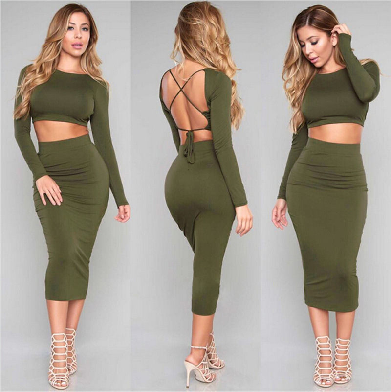 2016 European women love Long sleeve Sexy Backless two piece set Army green  Bandage night-Club Dress Slim Pencil Midi Bodycon party dress women tank  summer ... 5b3955c1562f