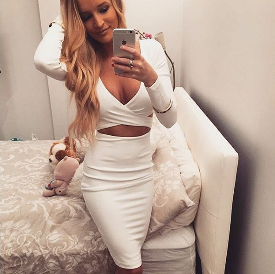 50541e1655 Ebay Hot 2016 European Women Love Long Sleeve Sexy V-neck Hollow Out  Crisscross Bandage Night-Club D on Luulla