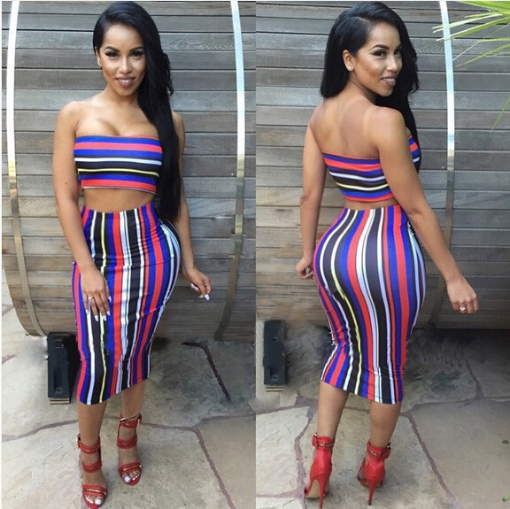 526699812f Ebay Hot 2016 European women love Sexy Multicolor stripe two piece set  printed flower Bandage night-Club Dress Slim Pencil Midi Bodycon party dress  women ...