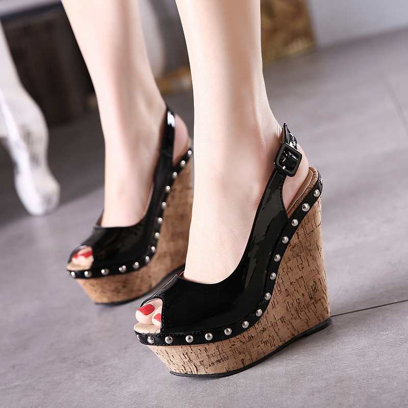 ce511a832d0 High quality 2016 new arrival women love Italy Rome style summer cheap wedges  peep toe platform studded punk Slingbacks sandals for woman fish mouth  wedding ...