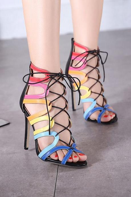 European 2016 woman love Rome style Crisscross cutouts bandage wedding heels sandals for girls women summer suede vintage Hollow open toe PU leather evening sandal high heeled shoes Valentine's novelty party bridal nude platform pumps sandalias shoes zapatos tacones de mujer 360-2