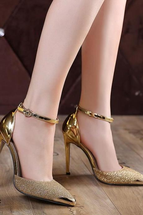 Gonice high quality European Women's simple and cute ankle-strapy personality Luxury metal toe wedding high heels woman pointed toe Flock leather suede pumps shoes girl's Valentine's party bridal High Stiletto Heel Platform shoes zapatos tacones de mujer 936-2