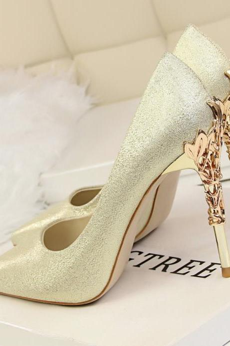 Glitter Pointed-Toe High Heel Stilettos Featuring Metal Encrusted Filigree