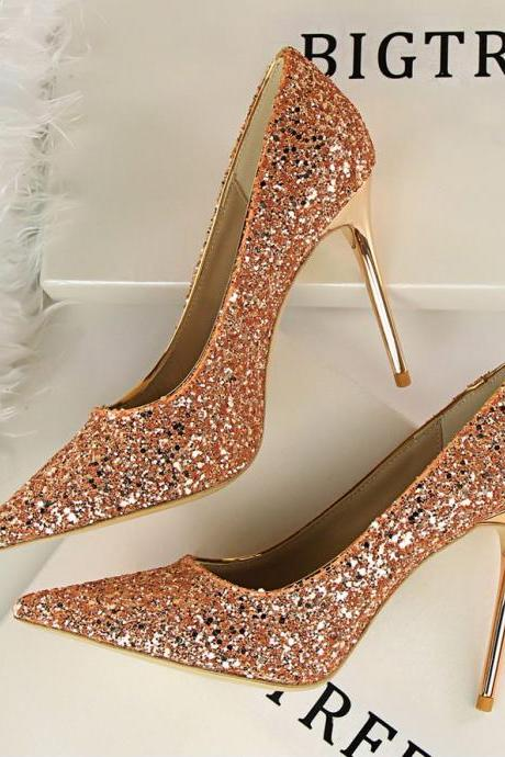 Pointed Toe Shimmery Stiletto Pumps with Metallic Heel , Prom Heels, Bridal Shoes