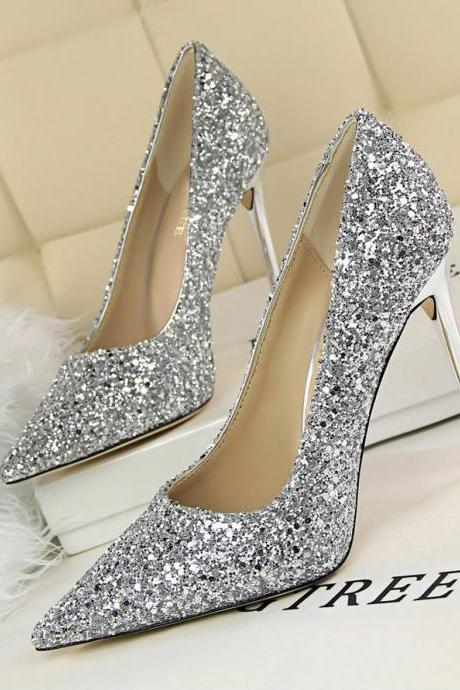 Pointed Toe Glittery Stiletto Pumps , Prom Heels, Bridal Shoes