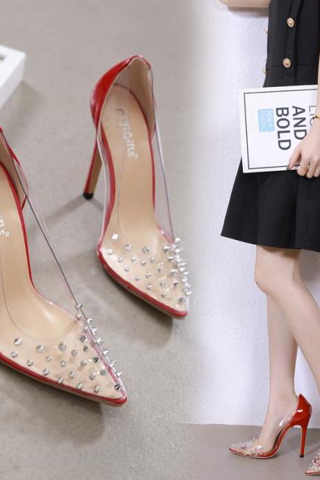 New Arrival rivet high heeled lady pumps shallow pointed toe Transparent woman shoes party red shoes slip-on PU wedding shoes A5-38