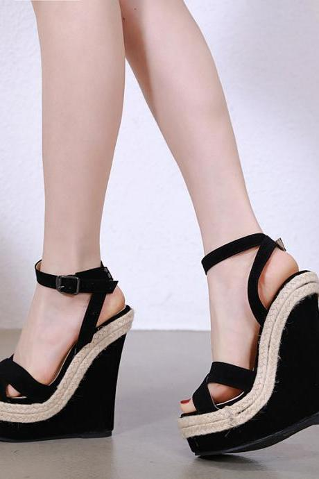 New Arrival Summer Women Gladiator Fashion Platform Ankle Strape wedges High heels shoes Ladies Sexy Open toe Buckle Strap Sandals A60-23