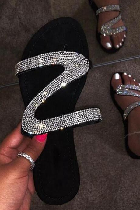 Women's Z Design Rhinestone Slippers Sexy Casual Bling Bling Shoes Plus Size