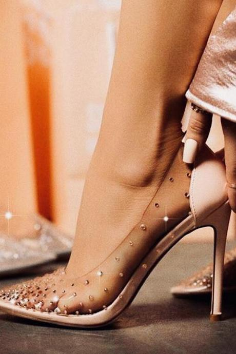 Elegance Pointed-Toe Shallow-Mouth Heels Rhinestone Rivet Transparent High Heel Single Shoes Women's Wedding Shoes Pumps