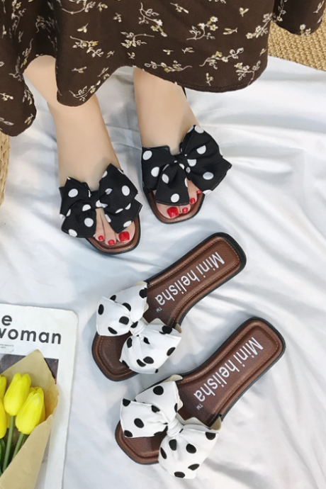 Women Dot Bowknot Design Fashion Rome Style Flat Slippers