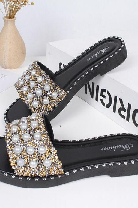 Fashion Rhinestone Beaded Flat Sandals Women Bling Bling Outdoor Beach Slippres