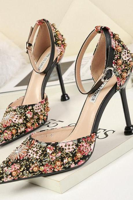 Sexy Point toe Rhinestone Nightclub Heels Sandals Stiletto Flower Color Block Women Shoes