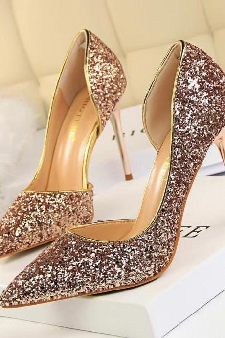 Lady Sexy Nightclub Shoes Point-Toe Hollow-Out Sequin Stiletto High Heels Pumps