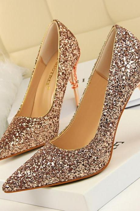 Lady Sexy Nightclub Shoes Point-Toe Sequin Metal Stiletto High Heels Pumps
