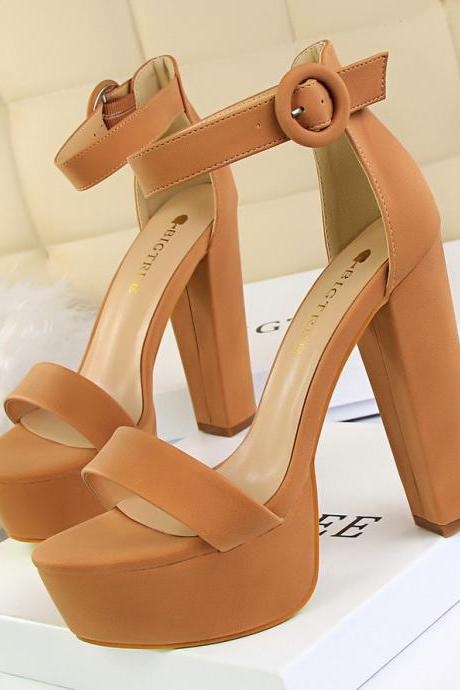Women Chunky Heels Sandals Sexy Nightclub Platform Heels Sandals