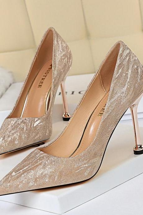 Women All-match Heels Shoes Point Toe Bridesmaid Wedding Shoes Pumps