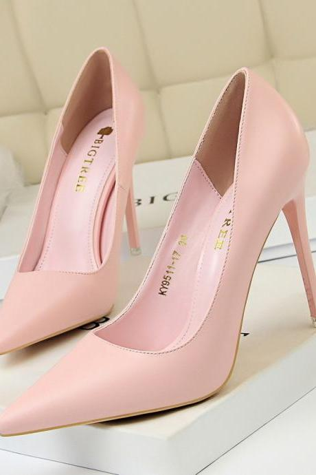 Women Korean Style Fashion Sweet Simple Heels Shoes Pumps