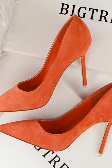 Lady Korea Simple Heels Suede Office High Heels Shoes Pumps