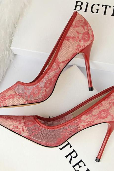 Women Elegant Heels Mesh Hollow-Out Lace High Heels Shoes Pumps
