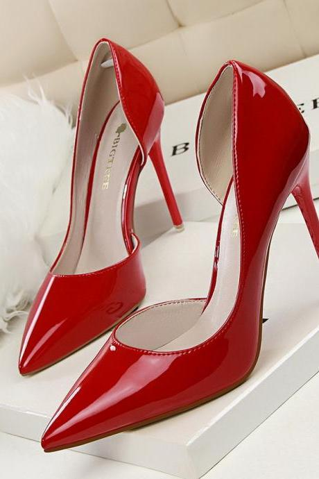 Fashion Simple Women Shoes Patent Leather Hollow Out Sexy Heels Shoes Pumps
