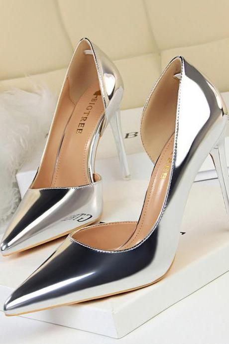 Women Heels Simple Stiletto Heels Metal Heel Point Hollow Out Sexy Heels Pumps
