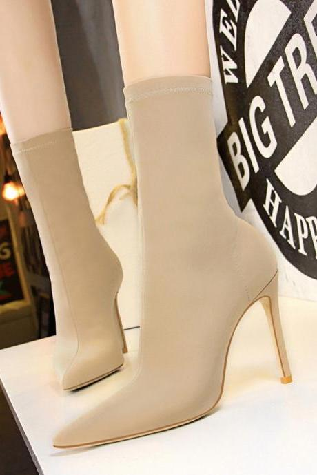 Women Simple Boots Seyx Nightclub Elastic Heeled Ankle Boots