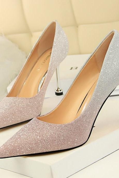 Women Fashion Sexy Shiny Gradient Color High Heels Shoes Pumps