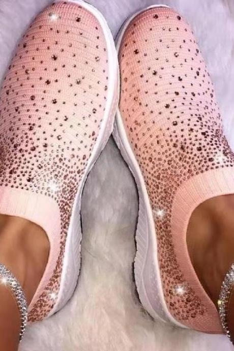 Women's Ladies Ankle Shoes Flat Loafers Bling Bling Rhinestone Fashion Sneakers Casual Ladies Slip On Breathable Shoes