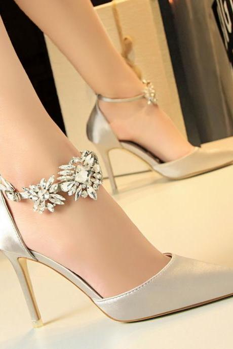 Women High Heels Shoes Satin Shallow Rhinestone Ankle Sandals