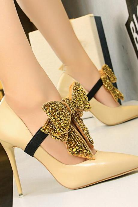 Rhinestone Butterfly-knot Shoes Woman Extreme High Heels Wedding Shoes Pumps Salto Alto Famous Shoes Sexy High Heels