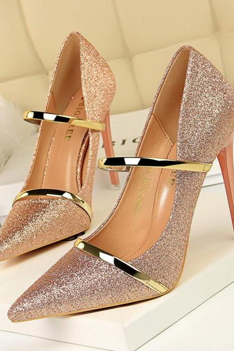 Fashion Women Pumps High Heels Shoes Ladies Shoes Sexy Pumps Women Pumps New Stilettos Sequin Wedding Shoes Sexy Party Shoes
