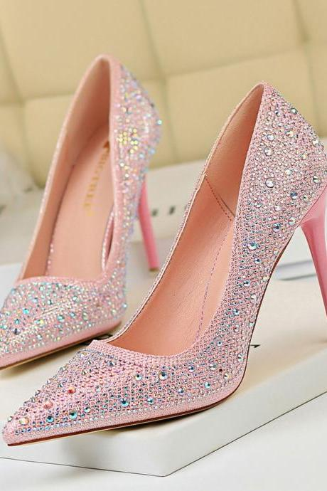 New Women Pumps Glitter Rhinestone High Heels For Women Shoes Elegant Wedding Chaussures Femme Stiletto
