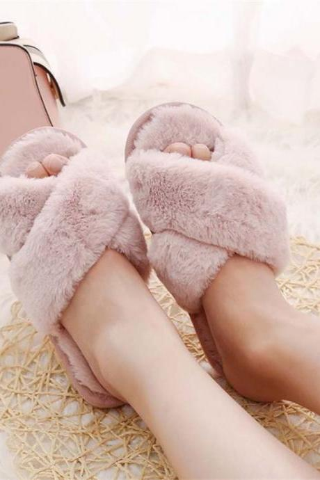Winter Women Home Slippers Faux Fur Fashion Warm Shoes Woman Slip Flats Female Slides Black Pink Plus Size