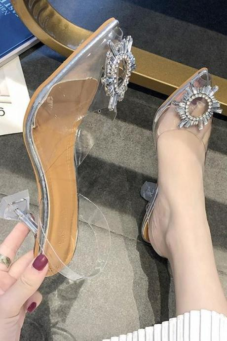 Luxury Women Pumps Transparent High Heels Sexy Pointed Toe Slip-on Wedding Party Fashion Shoes For Lady PVC