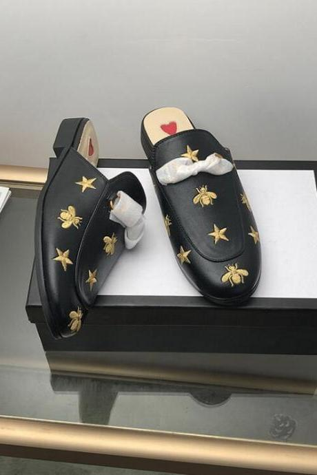luxe casual shoes women designer slides Smoking Slipper Leather star slippers fashion luxe designer slides
