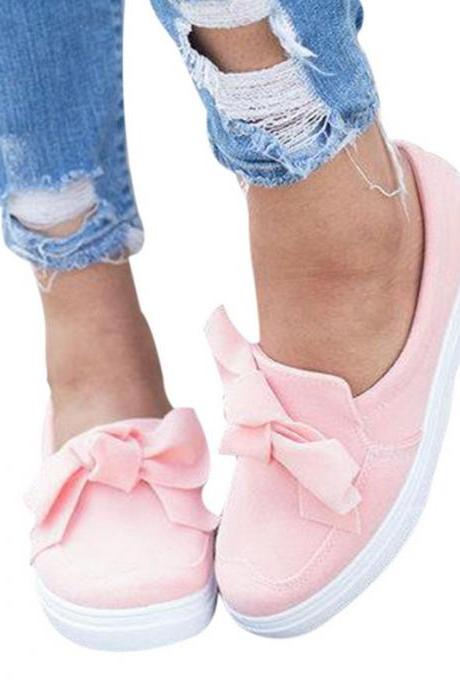 Spring Casual Flat Women Sneakers Ladies Suede Bow Tie Slip on Shallow Comfort Vulcanized Shoes Female Flats Footwear Size 35-43
