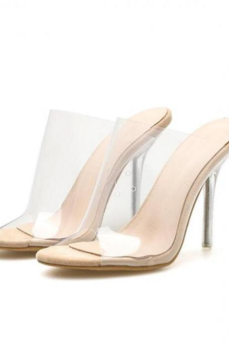 Open toe apricot PVC Transparent High heels Woman Jelly Sandals Women Slides Slippers Mules shoes